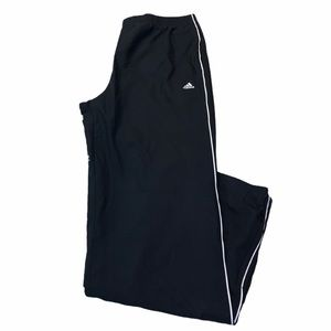 ADIDAS BLACK AND WHITE WIDELEG TRACK PANT SIZE L
